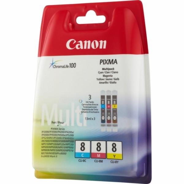 Original Canon 0621B029 / CLI-8 Tintenpatrone MultiPack C,M,Y 3x13ml