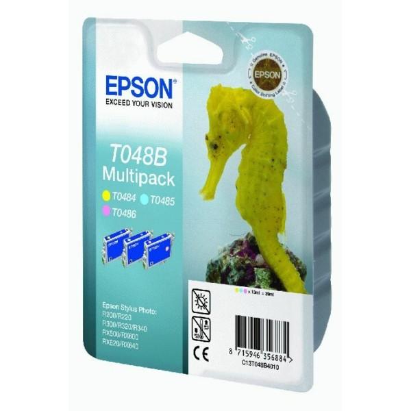 Original Epson C13T048B4010 / T048B Tinte cyan hell ,magenta hell ,gelb 13 ml 430 Seiten 3x13ml