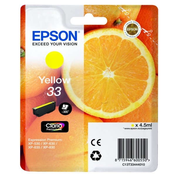 Original Epson C13T33444012 / 33 Tintenpatrone gelb 4,5 ml 300 Seiten