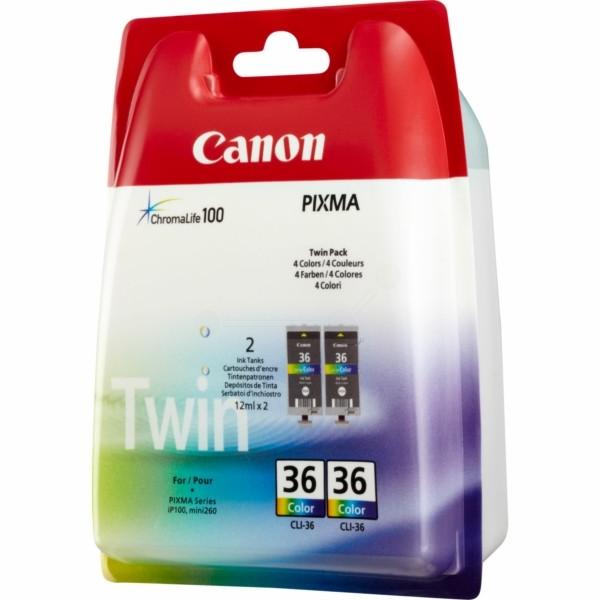 Original Canon 1511B018 / CLI-36 Tintenpatrone color Doppelpack 12 ml 249 Seiten
