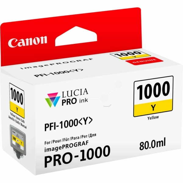Original Canon 0549C001 / PFI-1000 Y Tintenpatrone gelb 80 ml 3.365 Seiten