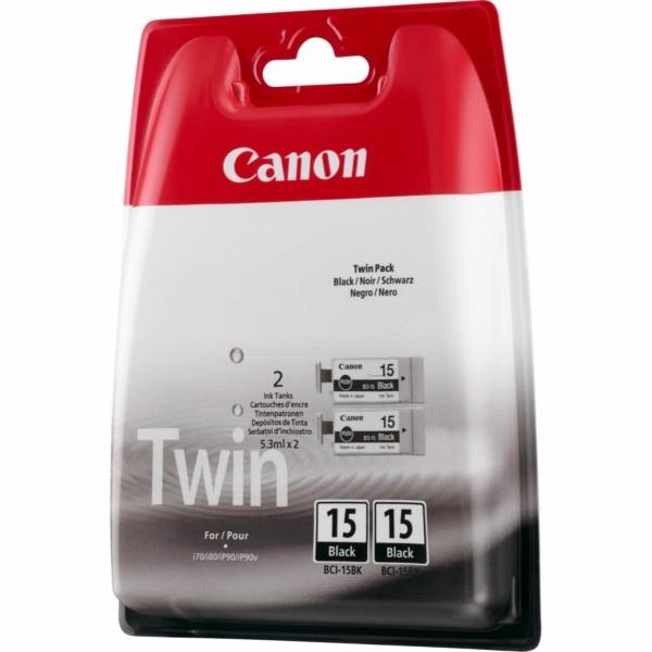 Original Canon 8190A002 / BCI-15 BK Tintenpatrone schwarz Doppelpack 5,3 ml 80 Seiten