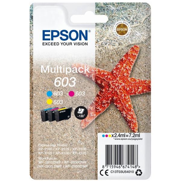 Original Epson C13T03U54010 / 603 Tintenpatrone MultiPack C,M,Y 2,4 ml 130 Seiten