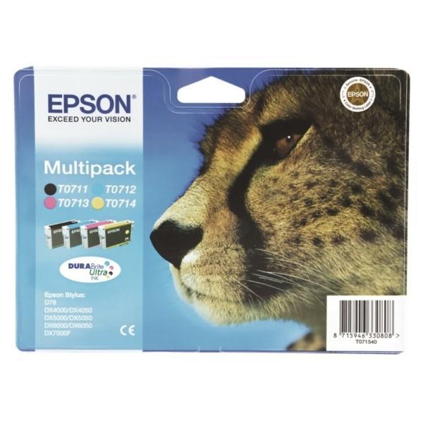 Original Epson C13T07154010 / T0715 Tintenpatrone MultiPack Bk,C,M,Y 7,4ml+3x5,5ml