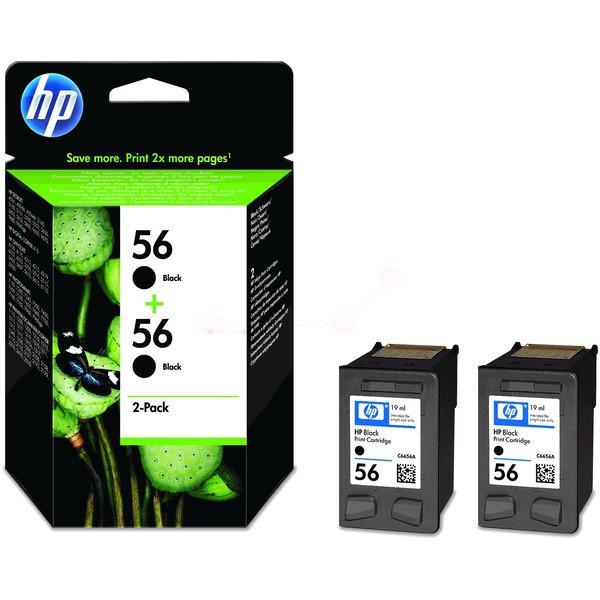 Original HP C9502AE / 56 Druckkopfpatrone schwarz Doppelpack 19 ml 520 Seiten