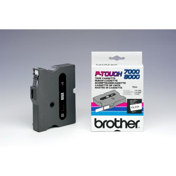 Original Brother TX231 DirectLabel schwarz auf weiss