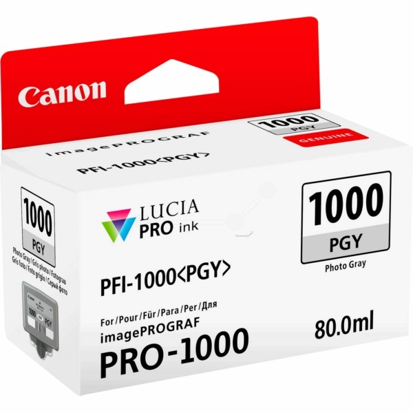 Original Canon 0553C001 / PFI-1000 PGY Tintenpatrone fotograu 80 ml 3.165 Seiten