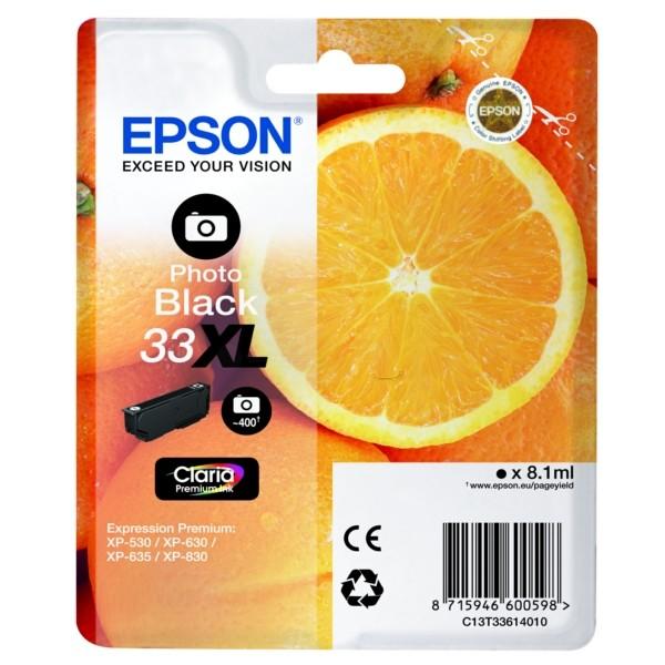 Original Epson C13T33614012 / 33XL Tintenpatrone schwarz foto 8,1 ml 400 Seiten